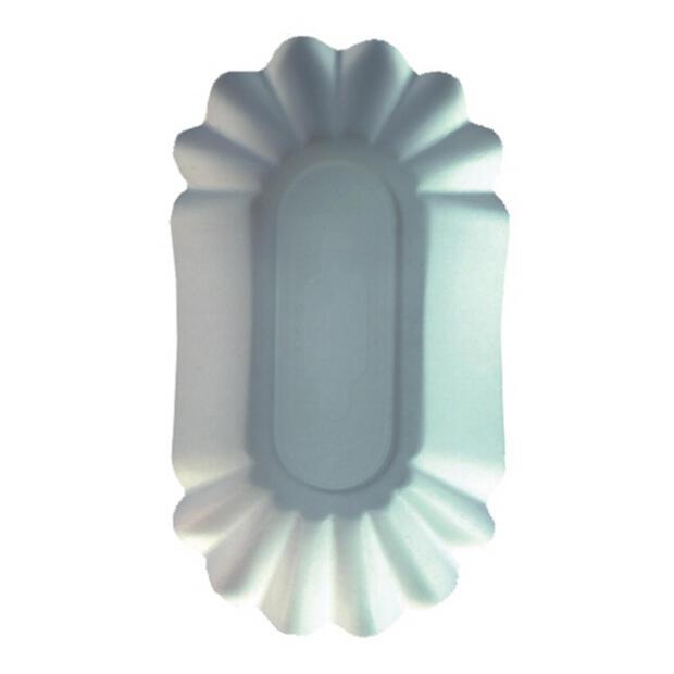250 Papstar pure Schalen aus Pappe oval 10,5cm x 20cm x 3,5cm weiss 11265