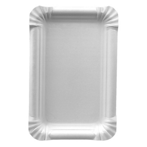 25 Teller, Pappe pure eckig 13 cm x 20 cm weiss