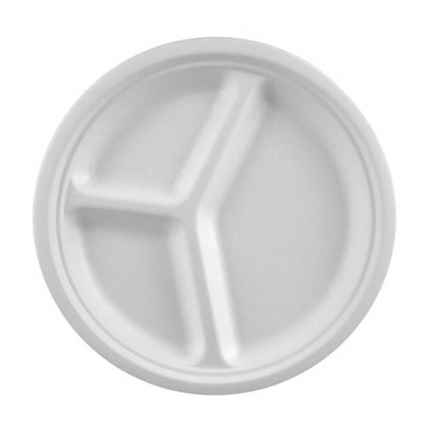 12 Papstar pure Teller aus Zuckerrohr 3-geteilt 26cm x 2cm weiss 81324