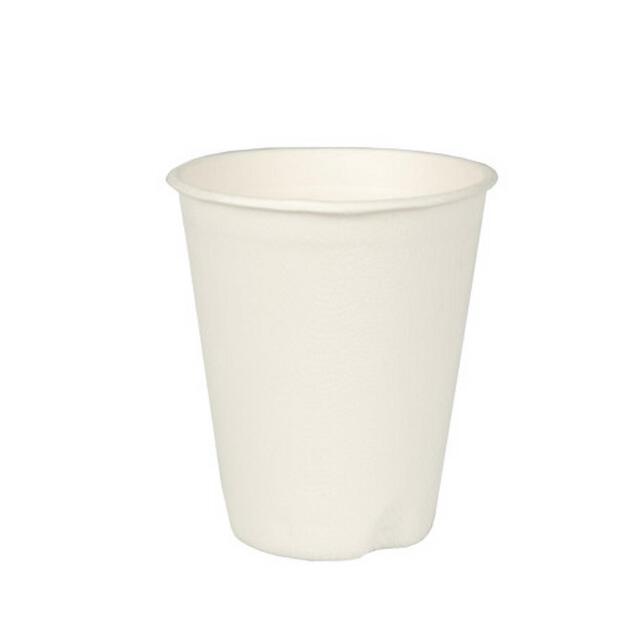 """40 Trinkbecher, Zuckerrohr """"pure"""" 0,2 l  8 cm · 9,2 cm weiss für Heißgetränke 82229"""