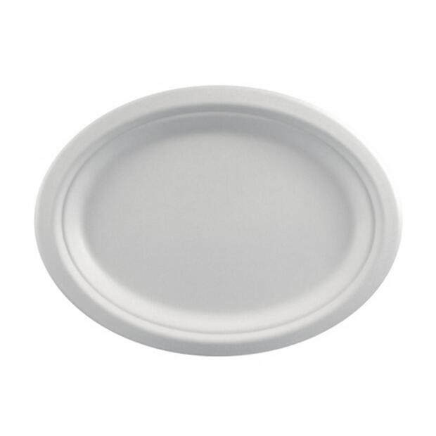 12 Papstar pure Teller aus Zuckerrohr oval 26cm x 20cm x 2cm weiss 82456