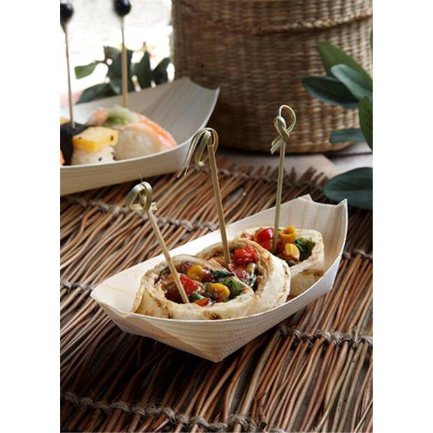"""50 Papstar pure Fingerfood-Schalen aus Holz 16,5cm x 8,5cm """"Schiffchen"""" 84416"""