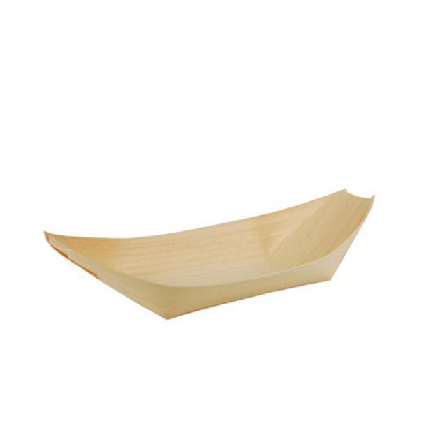 """50 Papstar pure Fingerfood-Schalen aus Holz 21,5cm x 10cm """"Schiffchen"""" 84418"""