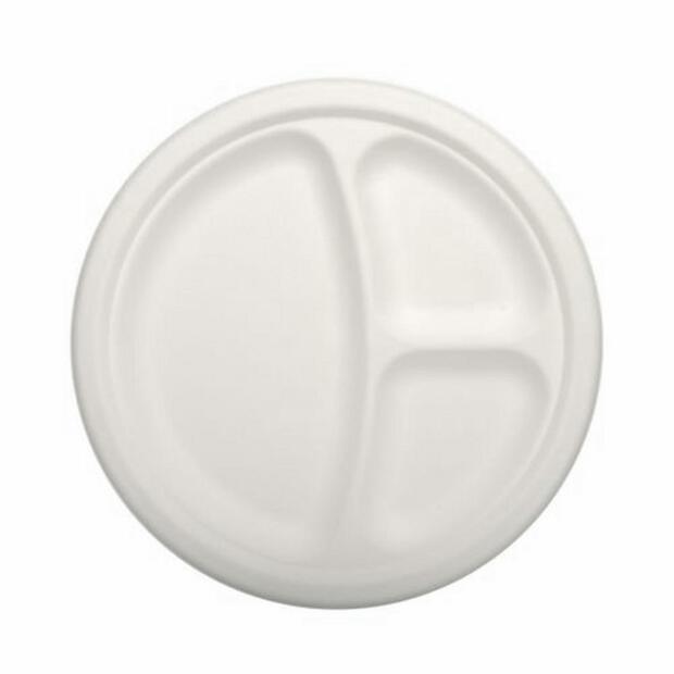 12 Papstar pure Teller aus Zuckerrohr 3-geteilt 23cm x 2cm weiss 84583