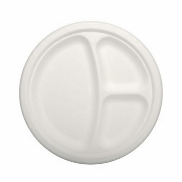 50 Papstar pure Teller aus Zuckerrohr 3-geteilt 23cm x 2cm weiss 84584