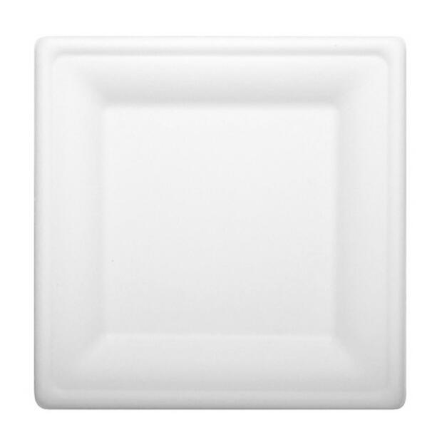 12 Papstar pure Teller aus Zuckerrohr eckig 20cm x 20cm weiss 84585