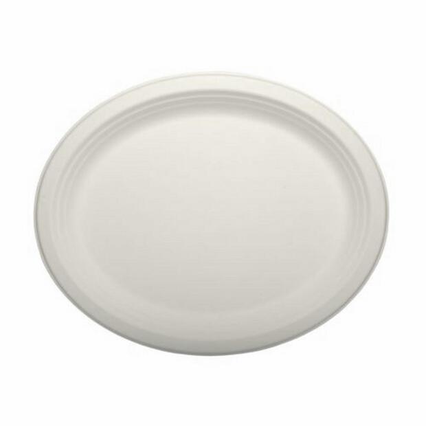 12 Papstar pure Teller aus Zuckerrohr oval 32cm x 25,5cm x 2cm weiss 84587