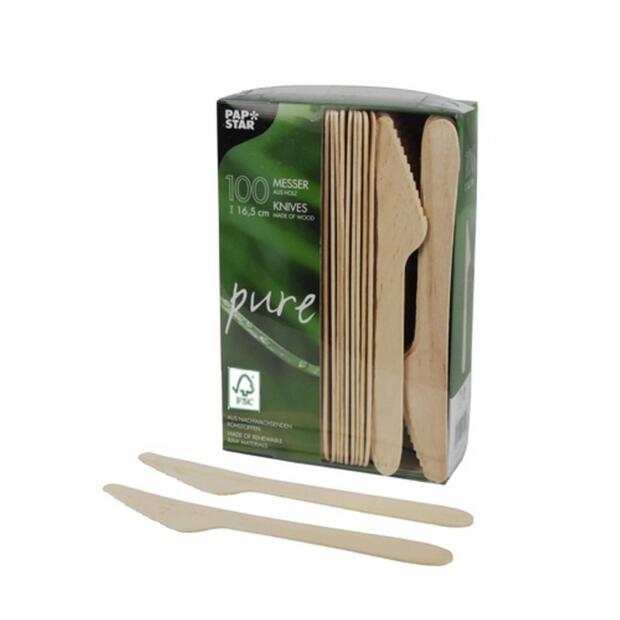 100 Papstar pure Messer aus Holz 16,5cm 84839