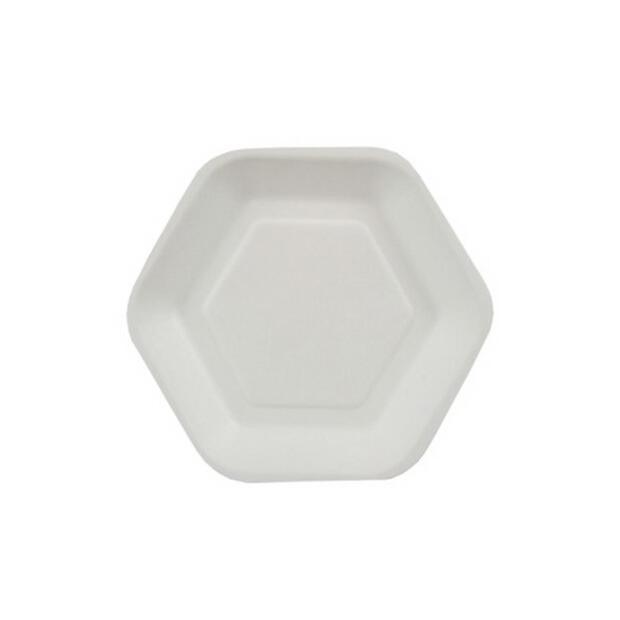 "50 Papstar pure Fingerfood-Teller aus Zuckerrohr 13cm x 11,2cm weiss ""Hexagon"" 85212"