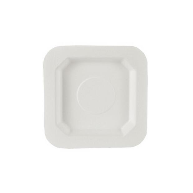 50 Papstar pure Fingerfood-Teller aus Zuckerrohr eckig 13cm x 13cm weiss 85213