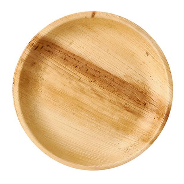 25 Papstar pure Teller aus Palmblatt rund  23cm x 2,5cm 85503