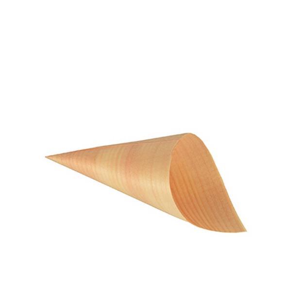 50 Papstar pure Fingerfood-Spitztüten aus Holz 6,5cm x 12,5cm 85674