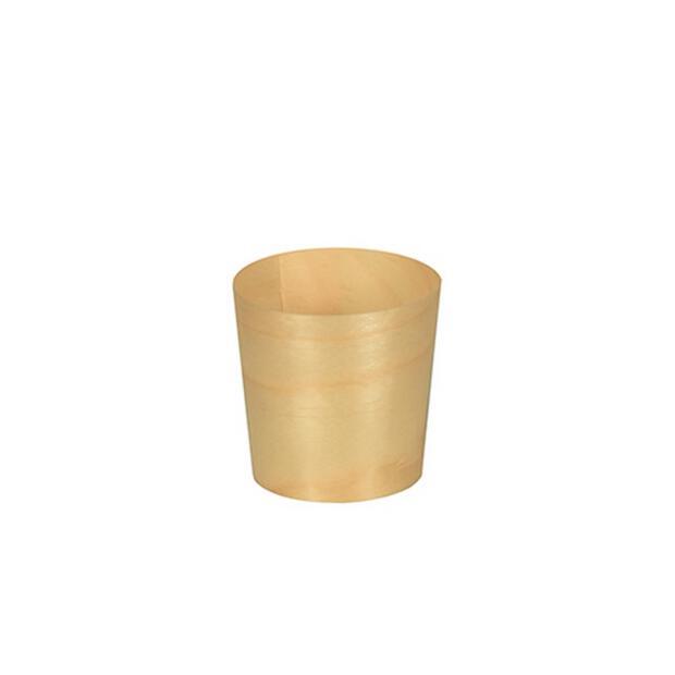 50 Papstar pure Fingerfood-Schalen aus Holz rund  4,5cm · 4,5cm 85680