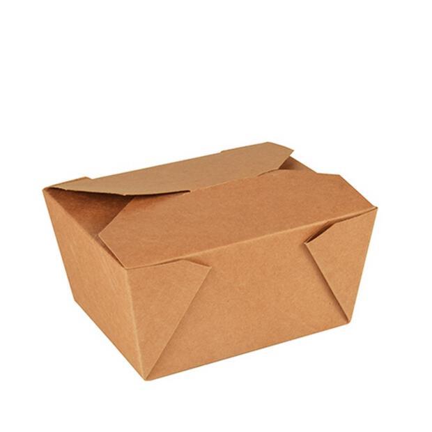 50 Papstar pure Lunchboxen aus Pappe 6,3cm x 9cm x 11,3cm braun 85687