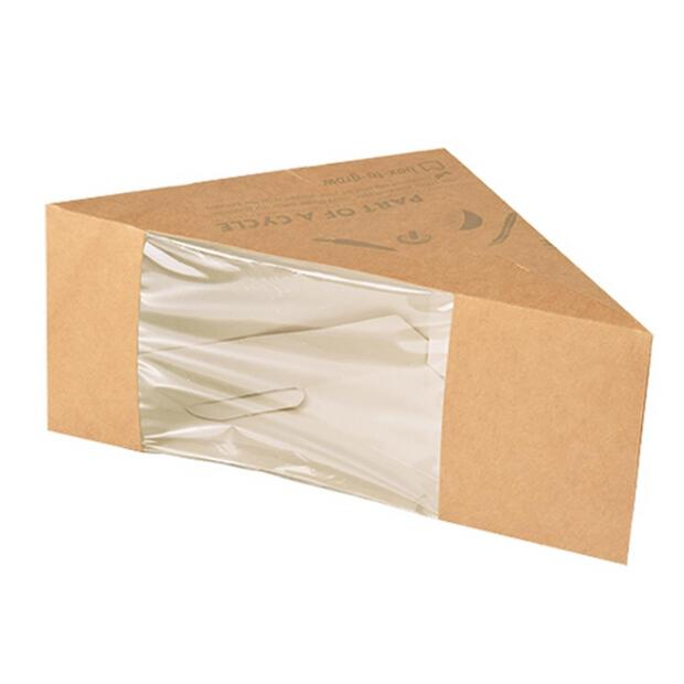 50 Papstar pure Sandwichboxen aus Pappe mit Sichtfenster aus PLA 12,3cm x 12,3cm x 8,2cm braun 85690