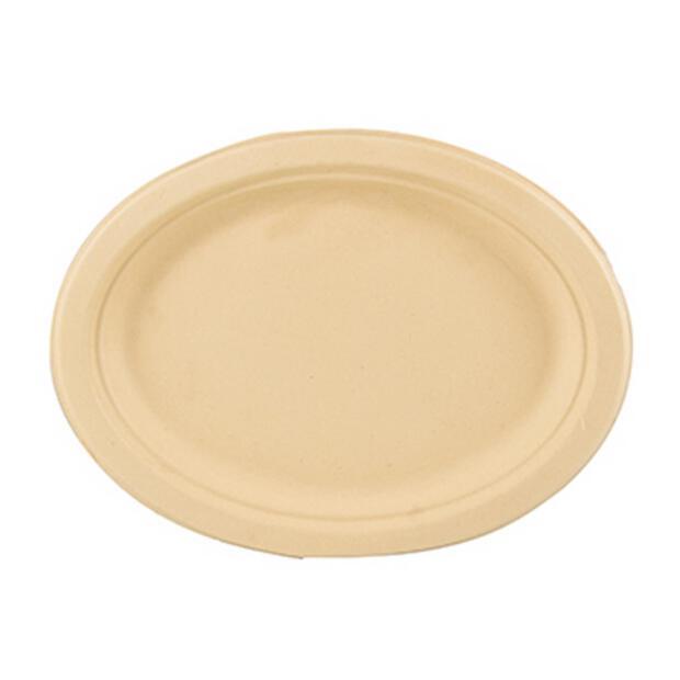 50 Papstar pure Teller aus Zuckerrohr oval 26cm x 20 cm x 2cm natur 86290