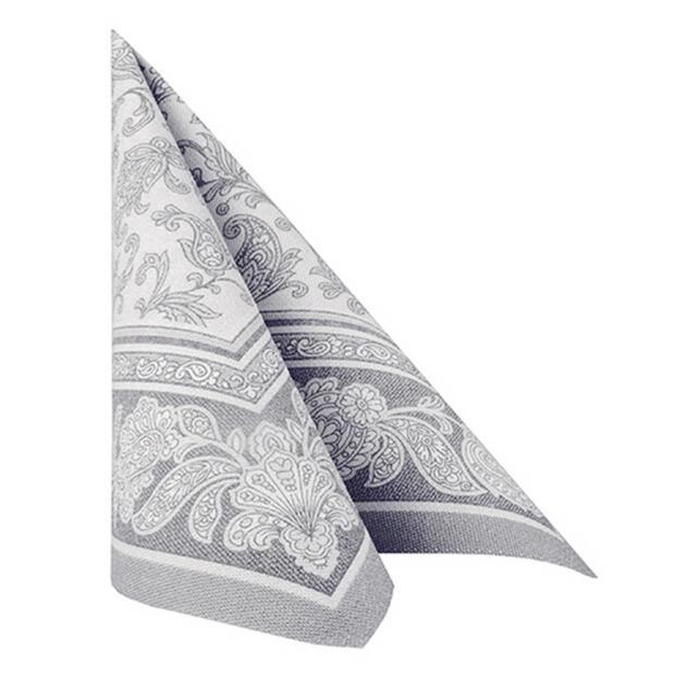 20 Servietten Papstar Royal Collection Ornaments grau 40 cm x 40 cm 11411