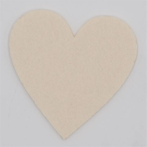 Filzuntersetzer Herz 4mm - 4 Stück - ca. Ø 10 cm - 02 Creme