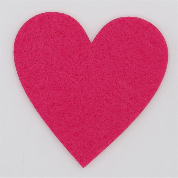 Filzuntersetzer Herz 4mm - 4 Stück - ca. Ø 10 cm - 35 Pink