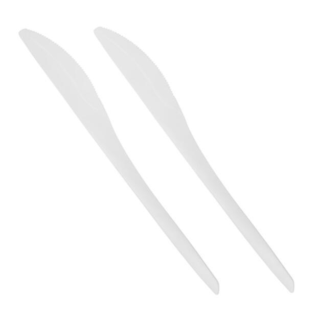 50 Papstar pure Messer aus C-PLA 18,5cm weiss-natur 87100