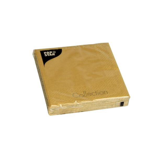 20 Servietten, 3-lagig 1/4-Falz 25 cm x 25 cm gold