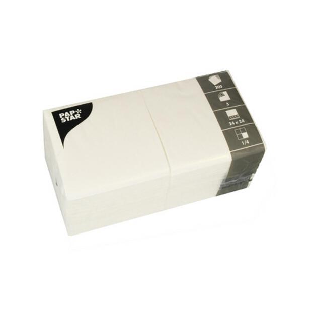 200 Servietten, 3-lagig 1/4-Falz 24 cm x 24 cm weiss