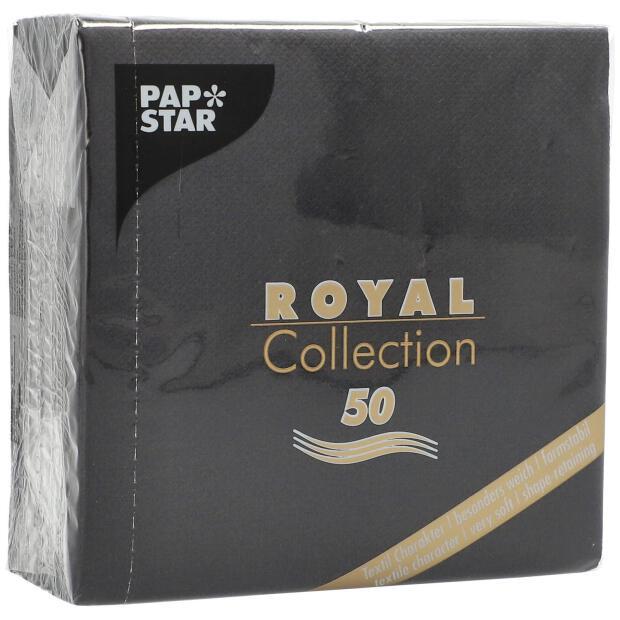 50 Servietten Papstar Royal Collection Uni schwarz 25 cm x 25 cm 86245