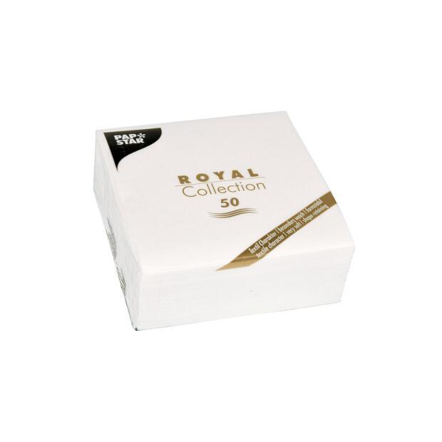 50 Servietten Papstar Royal Collection Uni weiß 25 cm x 25 cm 86243