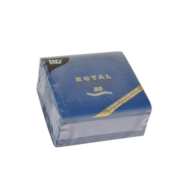 50 Servietten Papstar Royal Collection Uni dunkelblau 25 cm x 25 cm 86244
