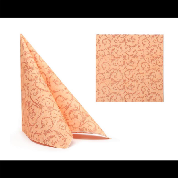 50 Airlaid Servietten 40x40 cm 1002 Ornament orange