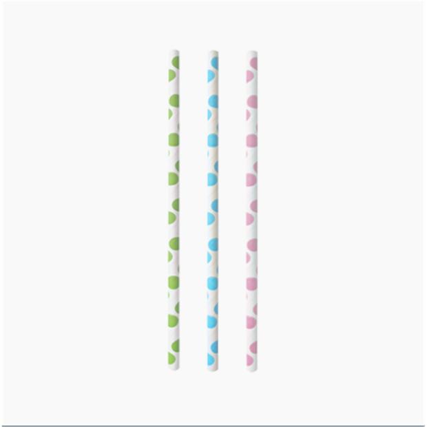 "25 Trinkhalme, Papier Ø 6 mm · 20 cm ""Dots"""