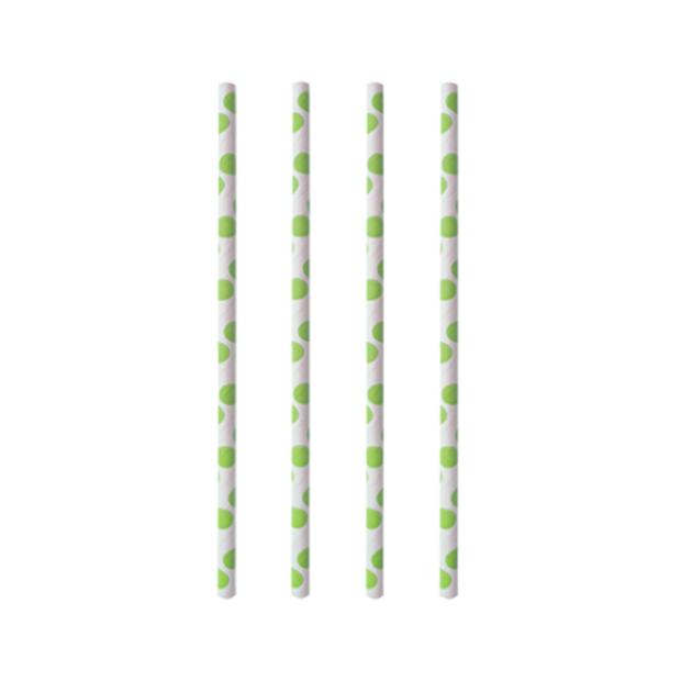 "100 Trinkhalme, Papier Ø 6 mm · 20 cm ""green Dots"""