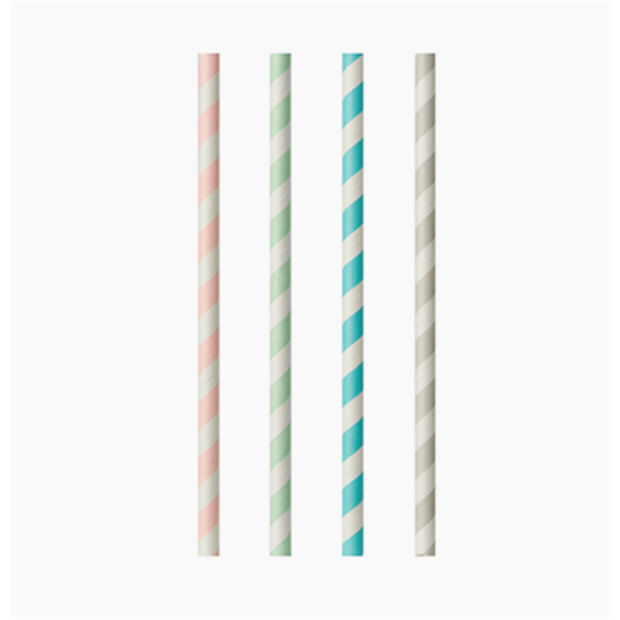 "100 Trinkhalme, Papier Ø 6 mm · 20 cm ""Stripes"" sortiert"