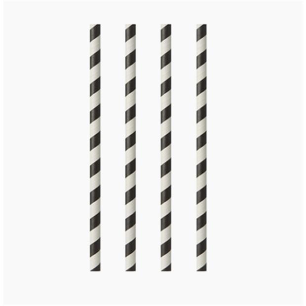 """100 Trinkhalme, Papier Ø 6 mm · 20 cm schwarz/weiss """"Stripes"""""""