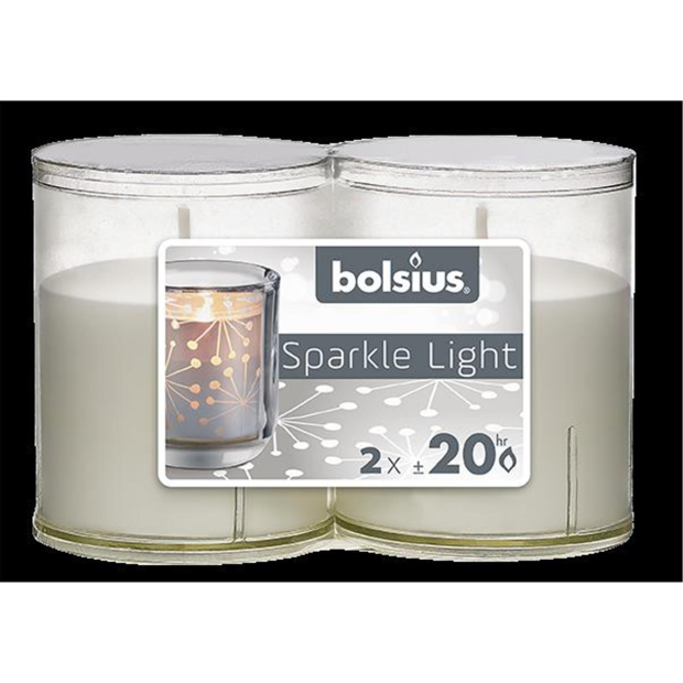 Bolsius Sparkle Lights transparent 2er-Pack