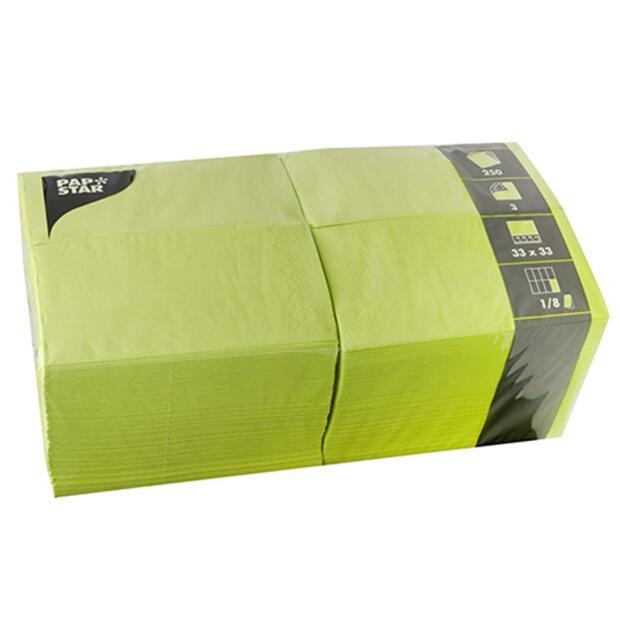 250 Servietten, 3-lagig 1/8-Falz 33 cm x 33 cm limonengrün