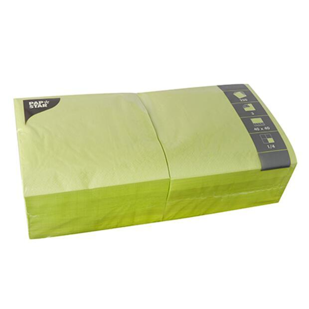 250 Servietten, 3-lagig 1/4-Falz 40 cm x 40 cm limonengrün