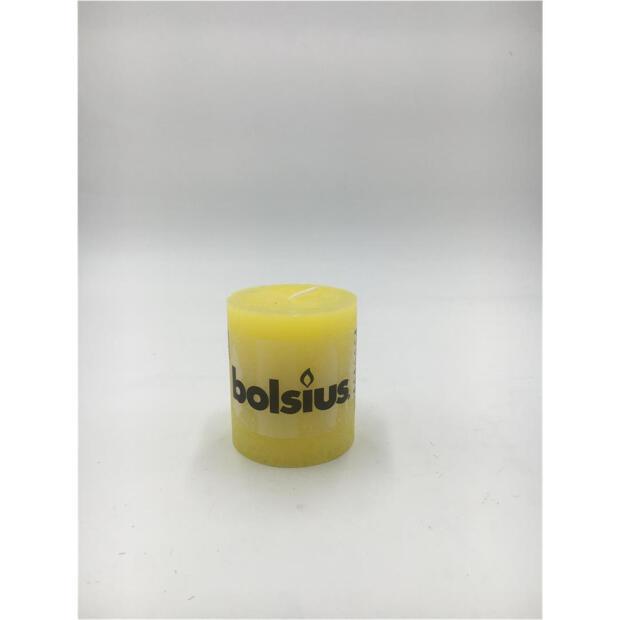1 x Bolsius Rustik Stumpenkerze Ø 6,8 cm x 8 cm gelb
