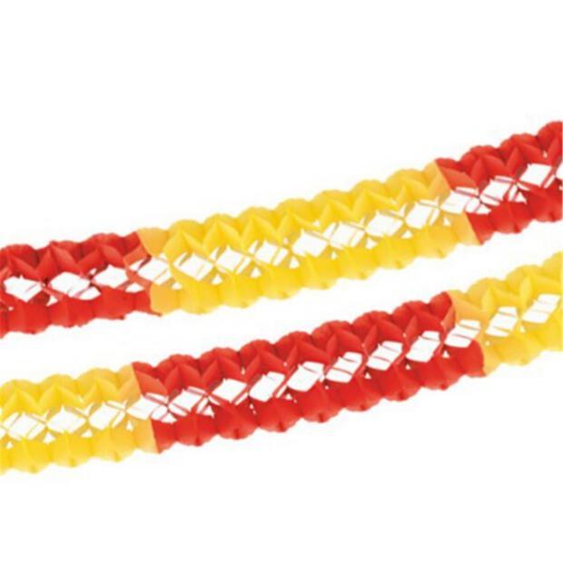 Girlande, Papier Ø 16 cm · 4 m rot/gelb/rot schwer entflammbar