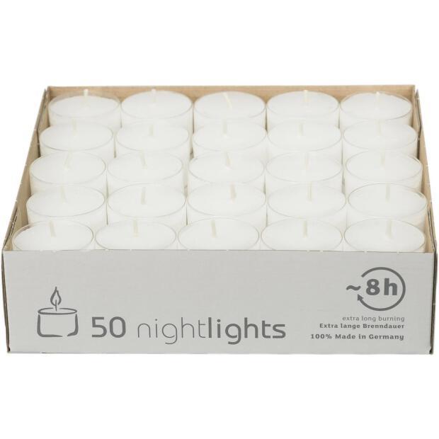 50 Teelichte Wenzel Nightlights 8 Stunden Brenndauer in transparenter Hülle
