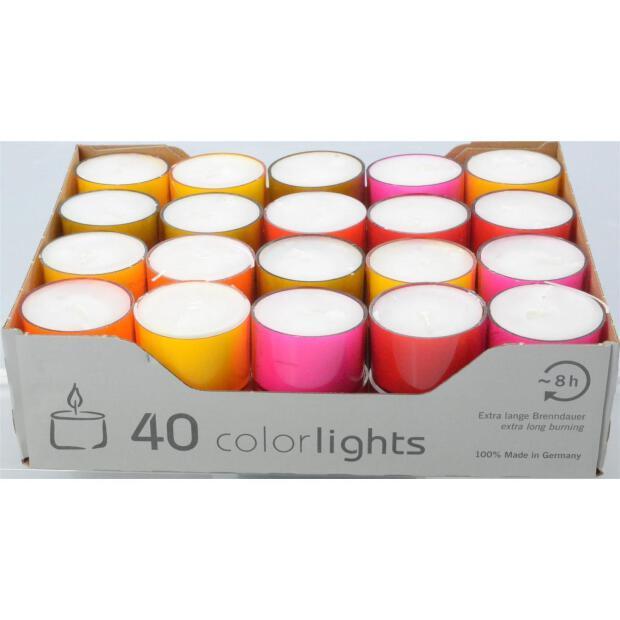 40 Teelichte Wenzel Colorlights Winter Edition 8 Stunden Brenndauer in transparenter Hülle bunt sortiert