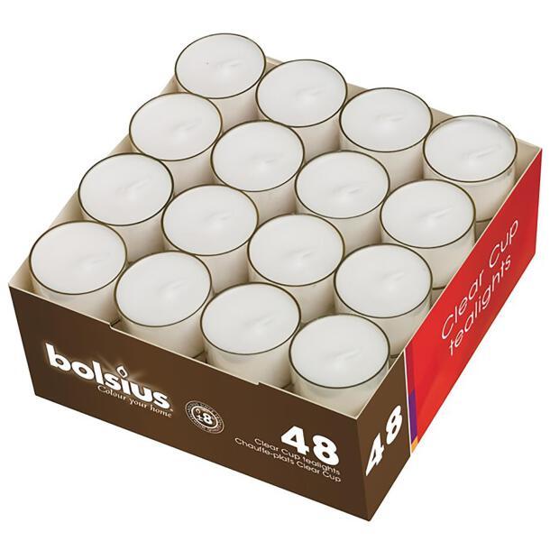 Bolsius 8h Teelichter Clear Cup 48er Packung H25 x Ø 39mm weiß