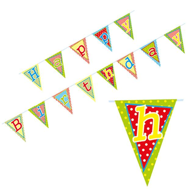 "Wimpelkette, Papier 4 m ""Happy Birthday"" lackiert"