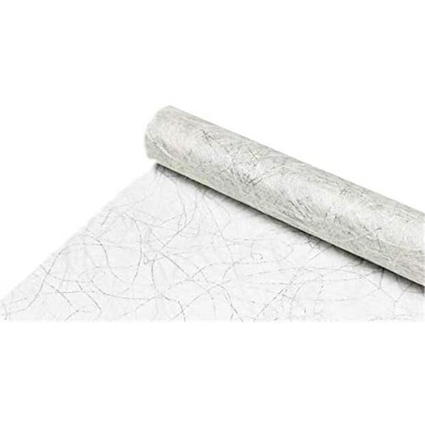 Sizoweb Vlies 30 cm x 25m 0014 weiß-silber