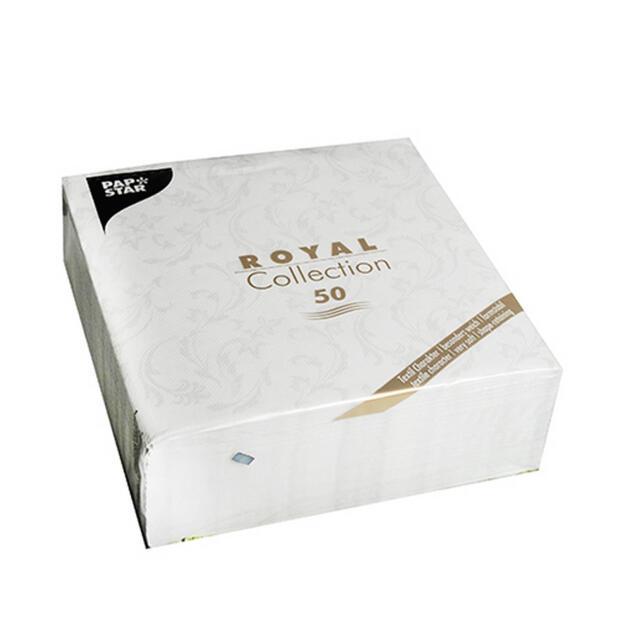 """Servietten """"ROYAL Collection"""" 1/4-Falz 40 cm x 40 cm weiß """"Damascato"""""""