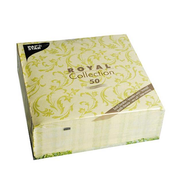 """Servietten """"ROYAL Collection"""" 1/4-Falz 40 cm x 40 cm limonengrün """"Damascato"""""""