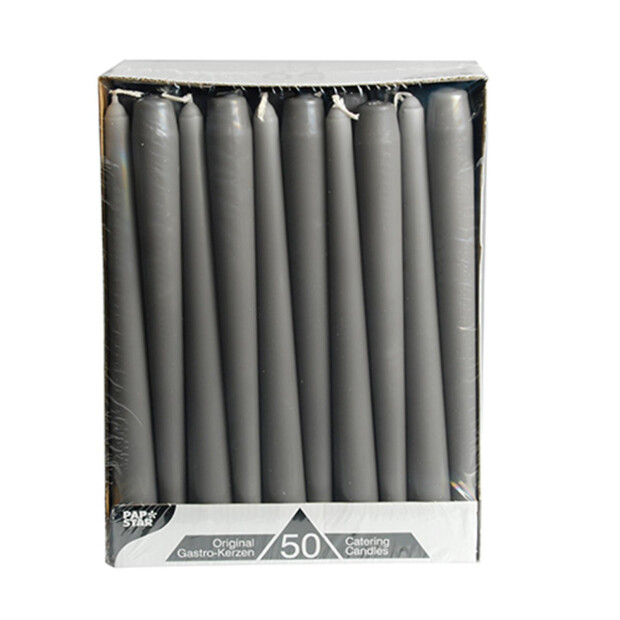 100 Leuchterkerzen Ø 2,2 cm 25 cm grau