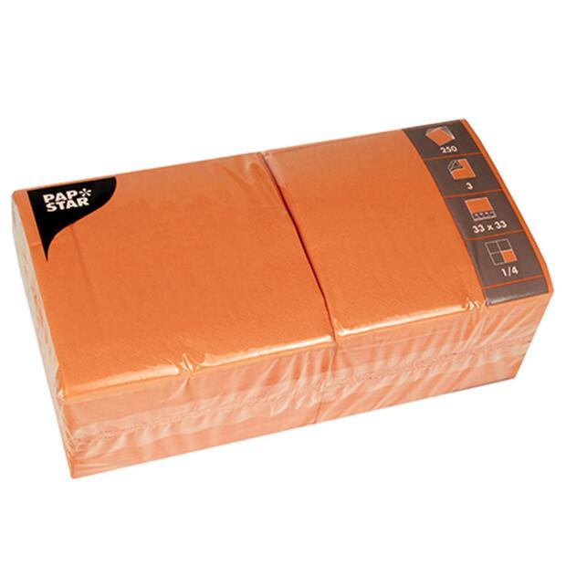Servietten 33 cm x 33 cm 3-lagig 1/4-Falz nektarine