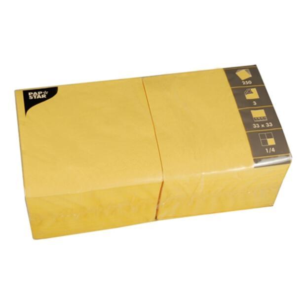 Servietten 33 x 33 cm 3 Lagig 1/4 Falzung gelb