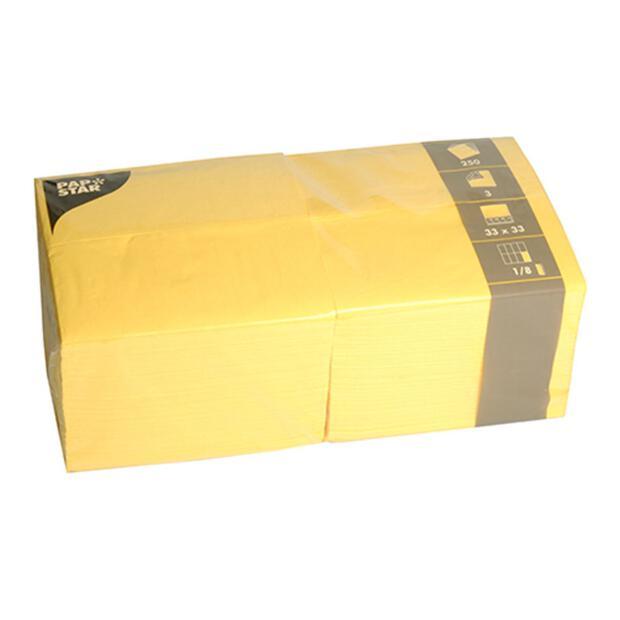 250 Servietten, 3-lagig 1/8-Falz 33 cm x 33 cm gelb